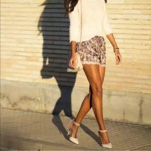 Zara • Purple Satin and Lace Shorts